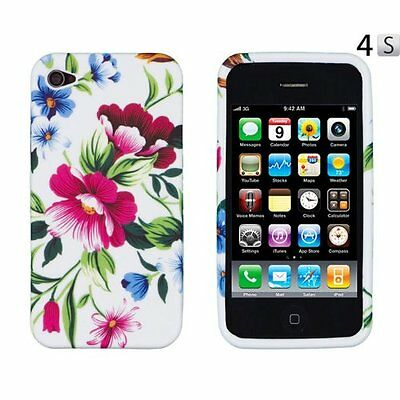 £4.21 • Buy Red Flower Skin TPU Soft Phone Cover Case Accessories For Apple Iphone 4GS 4G 4S