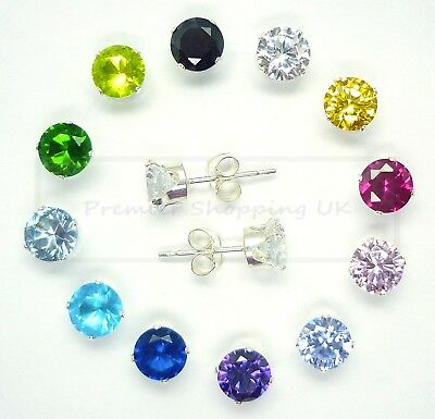 STERLING SILVER CUBIC ZIRCONIA CRYSTAL EARRINGS 925 SOLID SILVER STUD 1st CLASS • 7.77£
