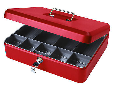 12 Inch Lockable Petty Cash Box Tin Large Metal Money Safe With Tray Holder Red • 13.99£