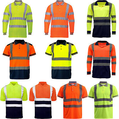 £10.99 • Buy Hi Viz Vis Polo T-Shirt High Visibility Reflective Tape Safety Security Work Top
