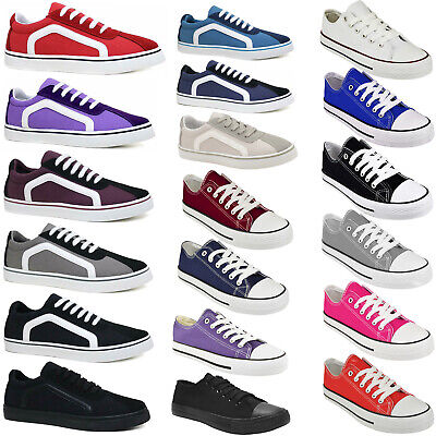 £9.99 • Buy Womens Canvas Shoes Ladies Girls Trainers Casual Plimsolls Lace Up Flat Pumps