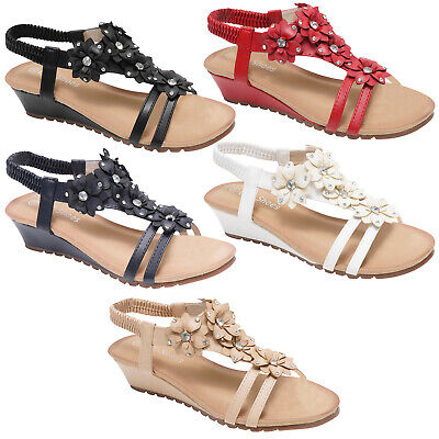 Women Ladies Gladiator Wedge Sandal Strappy Diamante Flower Summer Evening Shoes • 9.99£