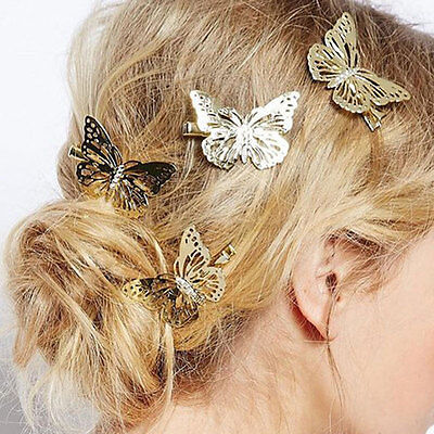 £3.95 • Buy Gold Butterfly Hair Clips Hairpins Wedding Barrette Accessories