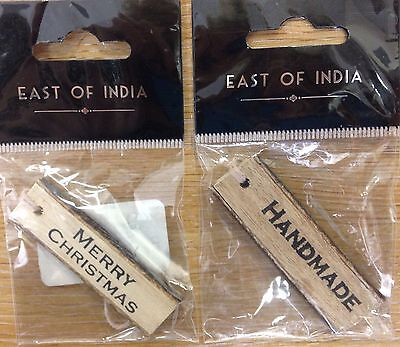 £1.99 • Buy East Of India Gift Wood Tags X2 Wooden Handmade / Christmas Embellishment Labels