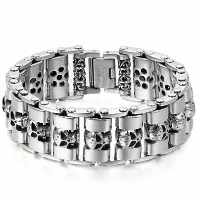 Men Heavy Chain Skull Biker Motorcycle Link Silver Tone Stainless Steel Bracelet • 39.59£