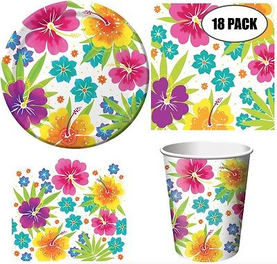 Tropical Hawaiian Luau Summer Party Pack (18) Including Plates, Cups, Napkins An • 35.84£