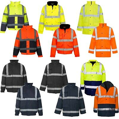 Hi Viz Vis Jacket High Visibility Reflective Waterproof Workwear Padded Hooded • 14.99£