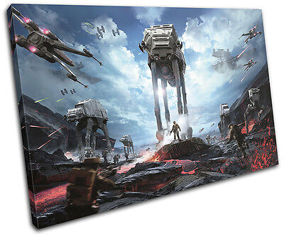 Star Wars Battlefront AT-AT Gaming SINGLE CANVAS WALL ART Picture Print • 15.99£