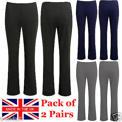 2 Pack Womens Bootleg Trousers Ladies Bootcut Stretch Finely Ribbed Work Bottoms • 8.99£