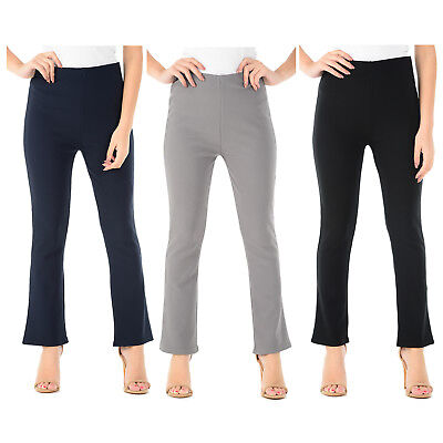 Womens Bootleg Trousers Ladies Bootcut Stretch Finely Ribbed Pull On Work Bottom • 4.99£