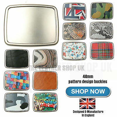 £8.99 • Buy 40mm New Best High Quality Removable Patterned Leather Belt Buckles Made In UK