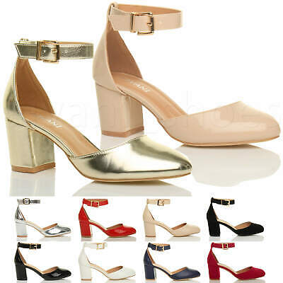 Womens Ladies Low Mid Block Heel Ankle Strap Mary Jane Court Shoes Sandals Size • 14.99£