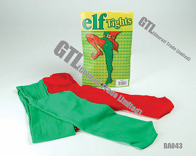 GREEN & RED ELF TIGHTS Unisex Xmas Christmas FancyDress Accessories Play Theatre • 3.29£