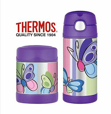 AU49.95 • Buy NEW THERMOS FUNTAINER FOOD CONTAINER + DRINK BOTTLE Insulated PURPLE BUTTERFLY
