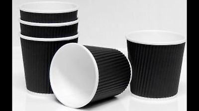 AU42 • Buy 500 Pieces 4 Oz Ripple Double Wall Paper Cups / Shortblack Coffee Cups In BLACK