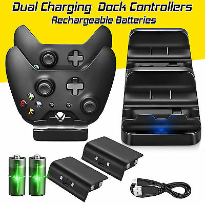 $12.99 • Buy XBOX ONE Dual Charging Dock Station Controller Charger + 2 Extra Battery Packs
