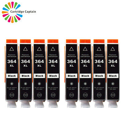 8 Black INK CARTRIDGES Compatible With HP 364XL PhotoSmart 5520 5510 6520 B110a • 11.01£