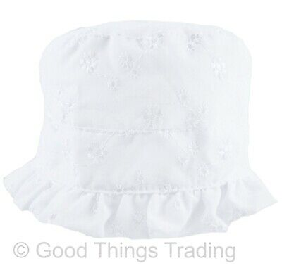 Girls Baby Mop Hat White Broderie Anglaise Summer Beach