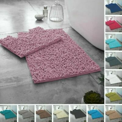 Luxury 2pcs Loop Design Bath Mat Sets Non Slip Water Absorbent Bathroom Rugs • 8.59£
