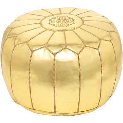 Moroccan Gold Faux Leather Hand Stitched Pouffe • 49.99£