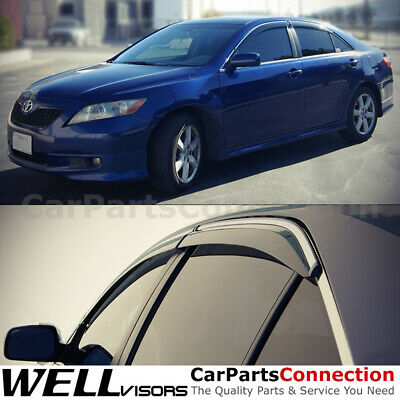 $53.99 • Buy WellVisors Window Visors 07-11 For Toyota Camry Side Deflectors Chrome