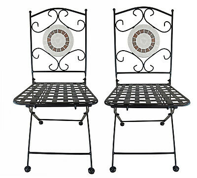 $139.79 • Buy  Mosaic Ring  Metal Outdoor Foldable Bistro Patio Garden Hollow Chairs 2PCS