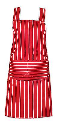 £4.99 • Buy Chefs Apron 100% Cotton Catering With Bib Pockets Cooking Bbq Chef Aprons Red