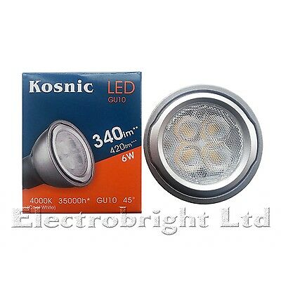 AU14.21 • Buy 1x Kosnic 6w Watt LED GU10 Power COOL White 4000k Superbright Spot Bulb 420lm UK