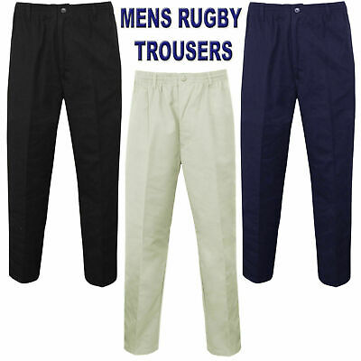 Mens Rugby Trousers Full Elasticated Waist Casual Smart Pocket Pants Big Plus • 8.95£