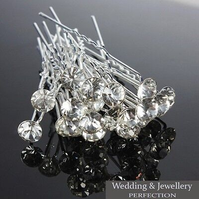 New Round Wedding Hair Pins Bridesmaid Crystal Diamante Bridal Hair Clips Grips  • 3.99£