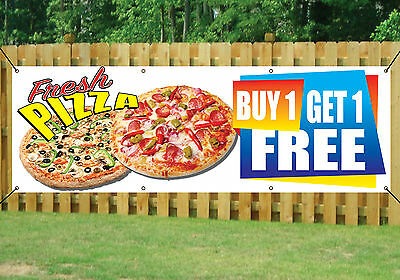 PIZZA SHOP TAKEAWAY BANNER BUY 1 GET 1 FREE OUTDOOR SIGN PVC With Eyelets V1 • 18.99£