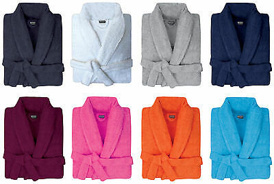 Mens & Womens 100% Cotton Terry Towelling Shawl Collar Bath Robe Dressing Gown • 14.94£