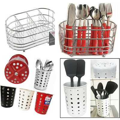 AU15.95 • Buy Cutlery Holder Caddy Pot Utensil Kitchen Stainless Steel Drainer Conical Stand