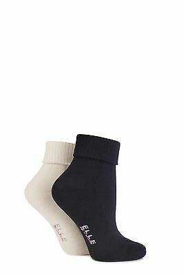 Ladies 2 Pair Elle Bamboo Ankle Socks With Cushion Sole • 10.99£