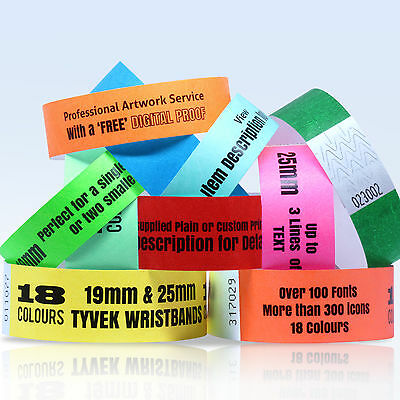 £3.29 • Buy CUSTOM PRINTED TYVEK WRISTBANDS: QUANTITY 100 BANDS 19 Or 25mm WIDTH 18 COLOURS