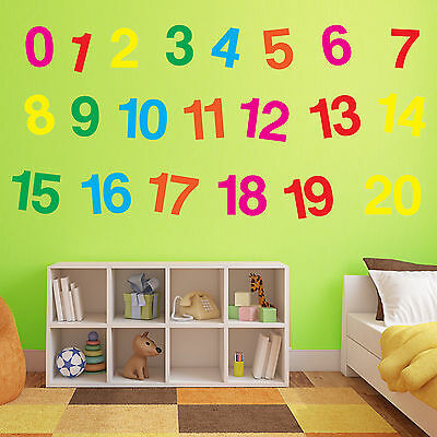 Nursery Wall Decor 1 To 20 Sticker Kids Decal Vinyl Removable Decals Art A378 • 6.99£