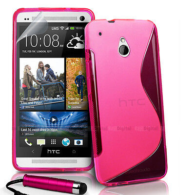 AU4.49 • Buy PINK S CURVE GEL TPU Jelly CASE COVER FOR HTC ONE Mini + Stylus + Screen Film