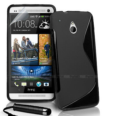 AU3.99 • Buy BLACK S CURVE GEL TPU Jelly CASE COVER FOR HTC ONE Mini + Stylus + Screen Film