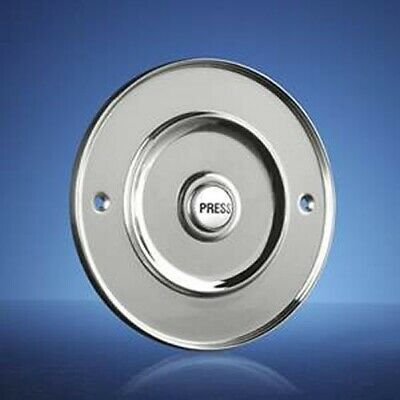 Wired Door Bell Push Button, Flush Fitting, 100mm (4 ) Chrome, Model 2207P3Cr • 28.95£