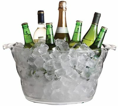 Ice Bucket 13.5 L Champagne Beer Drinks Pail Cooler Acrylic Plastic Large Oval • 14.99£
