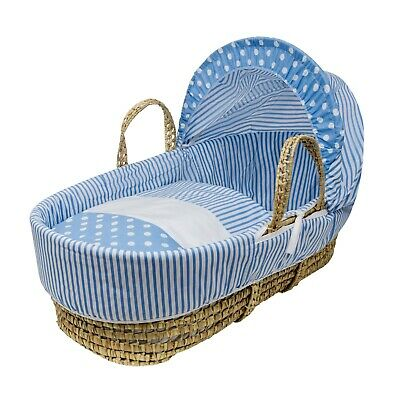 £34.99 • Buy Blue Spots & Stripes Palm Moses Basket With Padded Liner, Bedding And Mattress