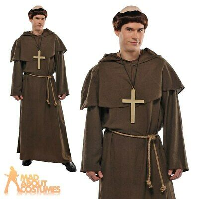 Mens Friar Tuck Costume Monk Robin Hood Fancy Dress Outfit Wig Religious Outfit • 19.49£
