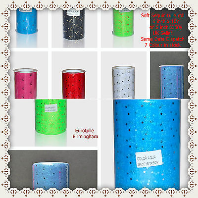 Premium Sequin Soft Tulle Roll 6 Inches X 10 Y Or 50 Y Shiny Sparkly  • 4.80£