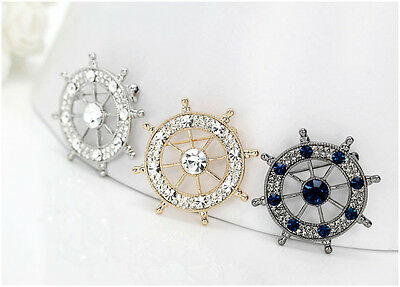 £2.99 • Buy Navy Crystal Sailor Helm Wheel Stick Brooch Lapel Pin Accessories For Men's Suit