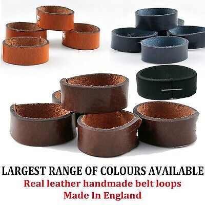 LEATHER COLOURFUL BELT LOOPS Handmade In England Fits To Any Belt LOOP01 • 2.99£