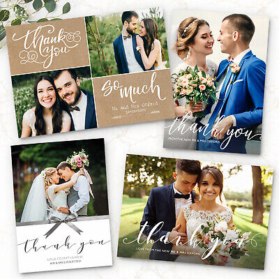 £10.99 • Buy Personalised Wedding Thank You Cards With Photo + Envelopes