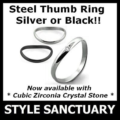 Curved Thumb Ring Mens Ladies Womens Girls Boy Silver Black Cubic Zirconia Stone • 4.99£