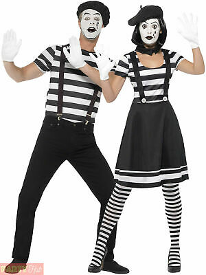 £19.95 • Buy Adults Mime Artist Fancy Dress Mens Ladies French Circus Costume Street Outfit