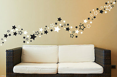 Up To 81 Star Shape Wall Art Stickers For Bedroom Bathroom Playroom Living Room • 2.69£