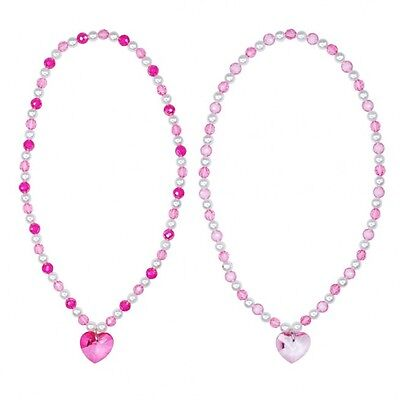 Pink Poppy Crystal Heart Beads Necklace Girls • 1.99£